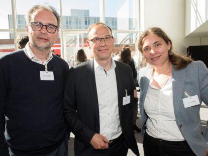 Tjerk Groenewegen (European Patent Office), Arnold Brakel (ING/NGB) en Saskia Tanis (op zoek naar haar nieuwe uitdaging)