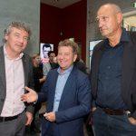 David Elshof en Peter Lommerse (beiden Rijkswaterstaat) en Rob Braun (provincie Zuid-Holland)