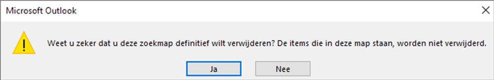 Een zoekmap kunt u naderhand probleemloos verwijderen, de oorspronkelijke e-mails staan nog steeds in Outlook.