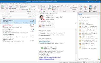 Met de Outlook integratie van Kleos slaat u de correspondentie direct op in het juiste dossier