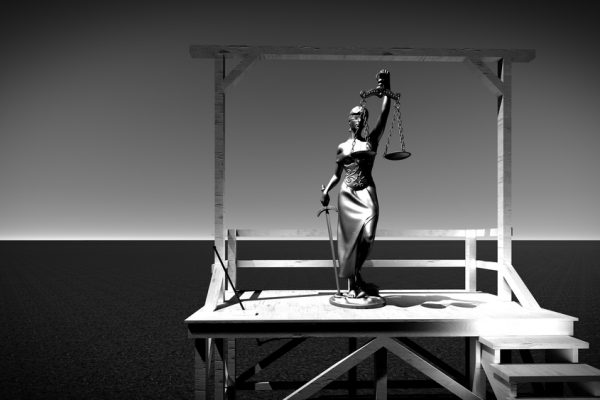 Lady of justice on gallows 3d rendering