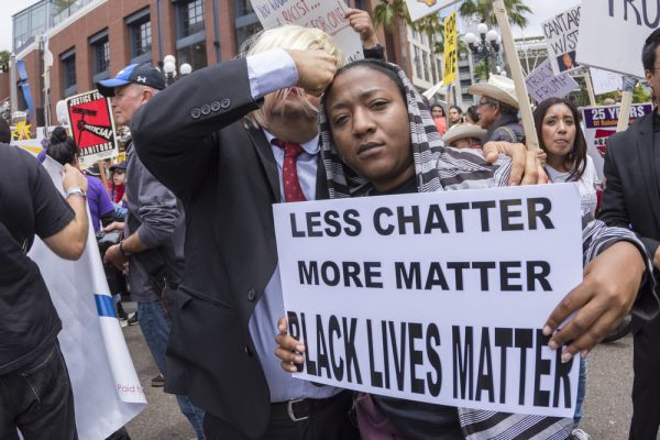 Anti-Trump protester with Black Lives Matter sign