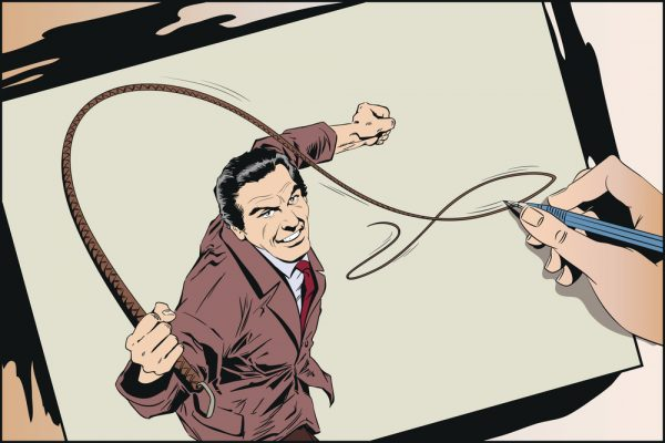 Man with whip. Stock illustration.