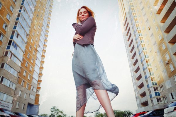 Urban portrait of attractive blonde woman