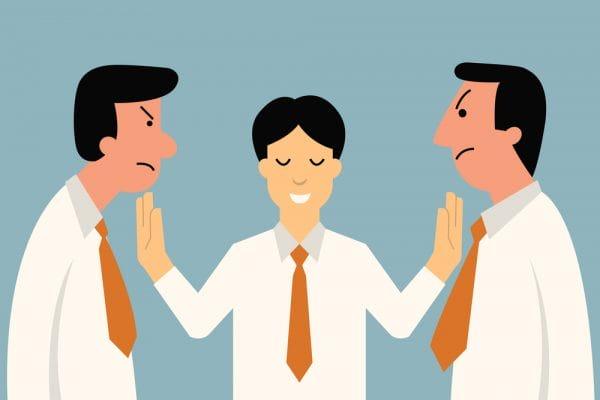 Businessman being mediator between conflict or arguing co-worker in office.