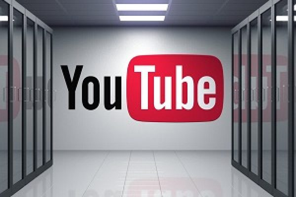 YouTube logo on the wall of the server room. Editorial 3D
